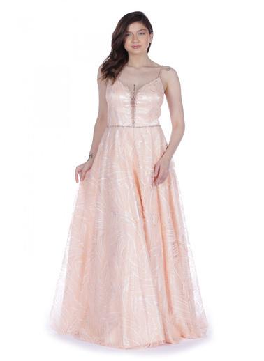 Pierre Cardin Kloş Etekli Uzun Abiye Elbise Pudra